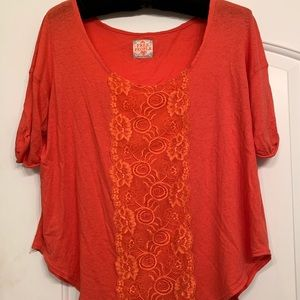 🆕 Listing! Free People Lace Embellished Red Shirt